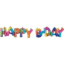 Rainbow Splash Happy B'Day Block Phrase Foil Balloons