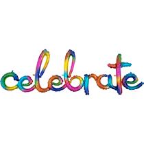 "Rainbow Splash Celebrate Script 40"" Foil Balloon"