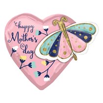 """Mother's Day Butterfly 2-sided 24"""" Heart Foil Balloon"""