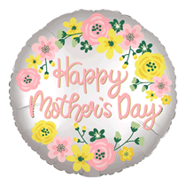"""Happy Mother's Day Silver Satin Luxe 28"""" Foil Balloon"""