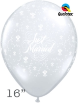 """Diamond Clear Just Married Flowers 16"""" Latex Balloons 50pk"""