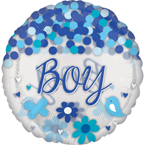 """Baby Boy 28"""" Clear Foil Balloon With Confetti"""