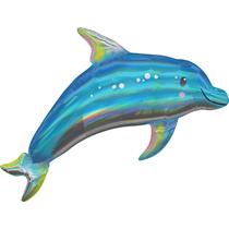 "Iridescent Blue Dolphin 29"" Foil SuperShape Balloon"