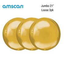 """Gold Jumbo 21"""" Orbz Foil Balloons 3pk"""