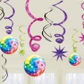 70s Disco Hanging Swirl Decorations 12pk