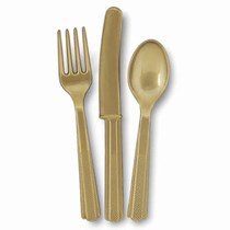 Gold Plastic Cutlery Fork Spook Knife 18 Pack