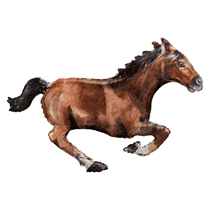 """Galloping Brown Horse 40"""" Foil SuperShape Balloon"""