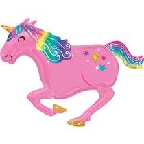 Pink Unicorn With Gold Sparkles SuperShape Foil Balloon