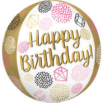"Happy Birthday Gems 15"" Orbz Foil Balloon"