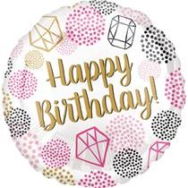 Happy Birthday Gems Jewelery Diamonds 18 Inch Foil Balloon
