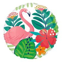 "Tropical Hibiscus Flamingo 18"" Foil Balloon"