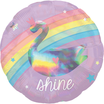 "Rainbow Holographic Unicorn & Swan 2-Sided 18"" Foil Balloon"