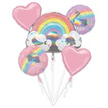 Magical Rainbow Narwhal Foil Balloon Bouquet 5pce