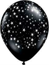 "Onyx Black Stars 11"" Latex Balloons 25pk"