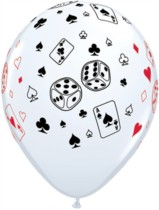"""11"""" White Cards and Dice Casino Latex Balloons - 25pk"""