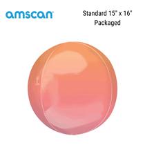 "Ombre 15"" Orbz Red & Orange Foil Balloon"