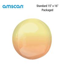 "Ombre 15"" Orbz Yellow & Orange Foil Balloon"