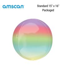 """Ombre 15"""" Orbz Rainbow Foil Balloon"""