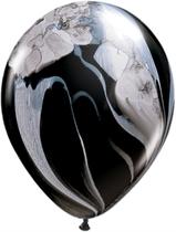"Qualatex 11"" Black & White SuperAgate Latex Balloons 25pk"