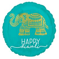 "Happy Diwali Elephant 18"" Foil Balloon"