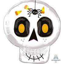"""Halloween 3D Smiling Skull 25"""" Foil Balloon"""