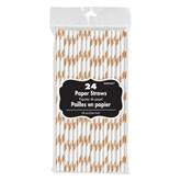 Rose Gold Paper Striped Straws 24pk