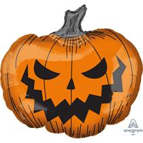 """Halloween Evil Pumpkin 29"""" SuperShape Foil Balloon"""