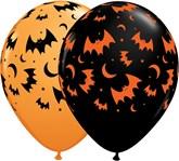 "Halloween Bats & Moons 11"" Latex Balloons 25pk"