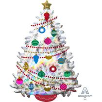 "Iridescent Christmas Tree 36"" Holographic Foil Balloon"