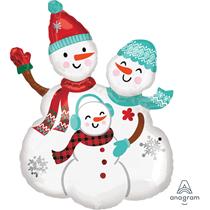 "Christmas Smiling Snowman Family 31"" Foil Balloon"