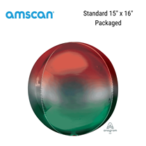 """Red & Green Ombre Orbz 15"""" Foil Balloon"""