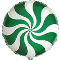 "Mini 9"" Green Candy Swirl Foil Balloon"