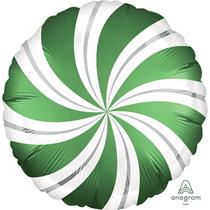 "Emerald Green Satin Luxe Candy Swirl 18"" Foil Balloon"