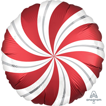 """Sangria Red Satin Luxe Candy Swirl 18"""" Foil Balloon"""