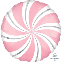 "Bubblegum Pink Satin Luxe Candy Swirl 18"" Foil Balloon"