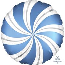 "Azur Blue Satin Luxe Candy Swirl 18"" Foil Balloon"