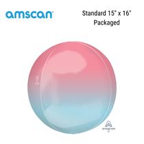 "Pastel Pink & Blue Ombre Orbz 15"" Foil Balloon"