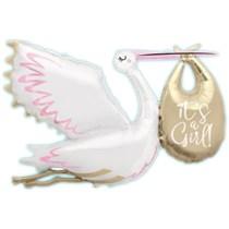 """It's a Girl Stork 62"""" Jumbo Foil Balloon"""