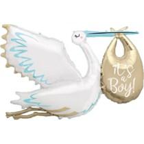 "It's a Boy Stork 62"" Jumbo Foil Balloon"