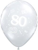 "11"" 80th Birthday Diamond Clear Balloons - 50pk"