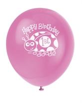 "1st Birthday Ladybug 12"" Latex Balloons 8pk"