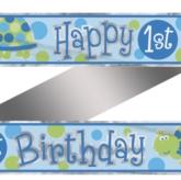 1st Birthday Turtle Foil Banner 12ft