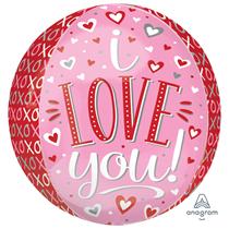 "Valentine's Love You 15"" Orbz Foil Balloon"