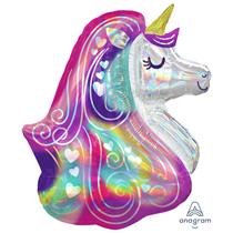 """Iridescent Heart Unicorn 30"""" Foil Balloon"""