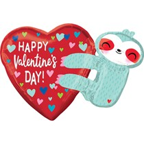 "Valentine's Day 30"" Sloth Foil Balloon"