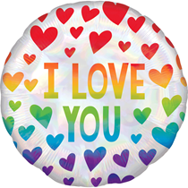 """Love You Rainbow Heart 18"""" Foil Balloon"""
