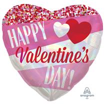 "Valentine's Iridescent Stripes 18"" Heart Foil Balloon"