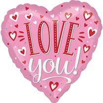 """Valentine's Love You Pink 18"""" Foil Heart Balloon"""