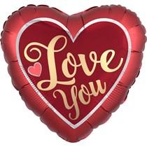 "Valentine's Love You Satin 18"" Heart Foil Balloon"