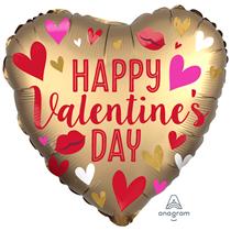 "Valentine's Gold Satin 18"" Heart Foil Balloon"